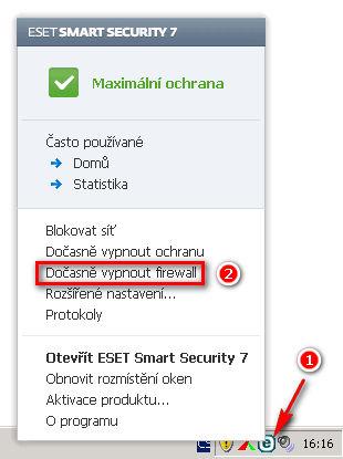 Vypnutí personálního firewallu v aplikaci ESET Smart Security