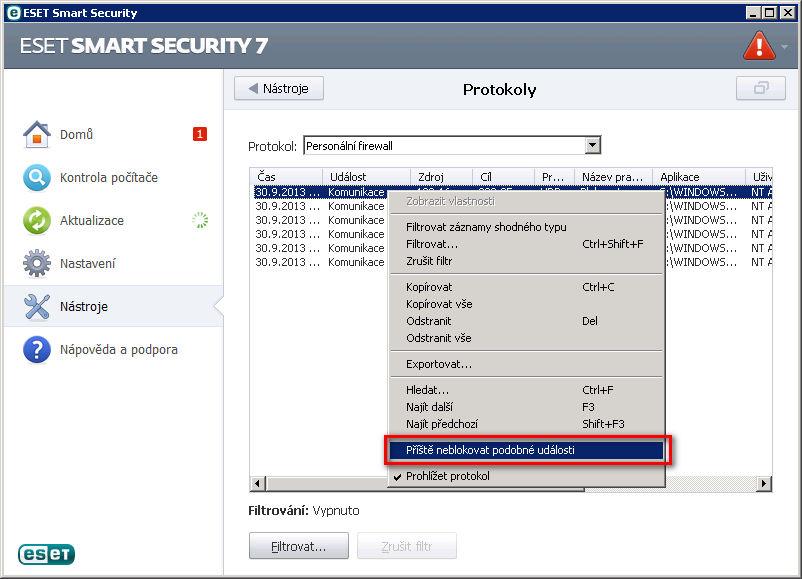 Nastavení personálního firewallu v aplikaci ESET Smart Security