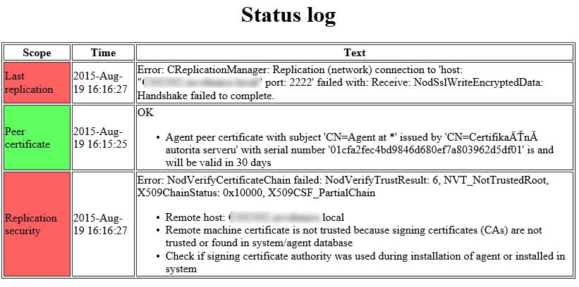 Status log
