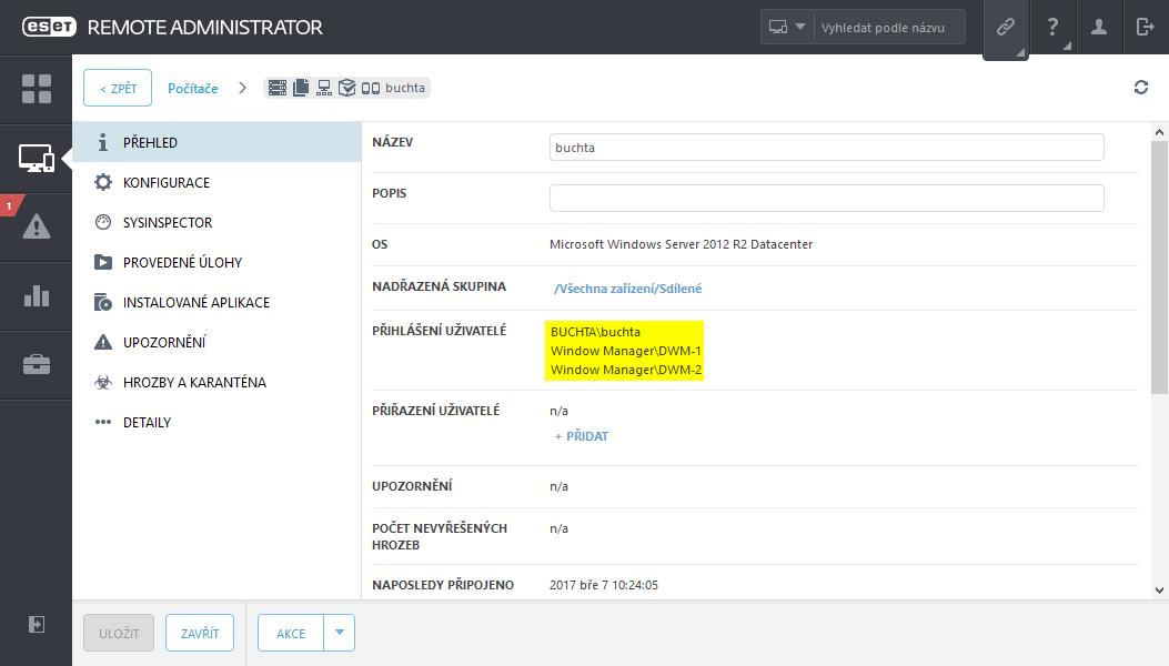Zobrazení přihlášených uživatelů v detailech zařízení