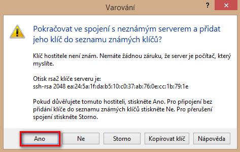 Potvrzení klíče ve WinSCP