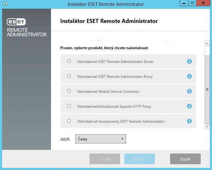Instalační průvodce ESET Remote Administrator