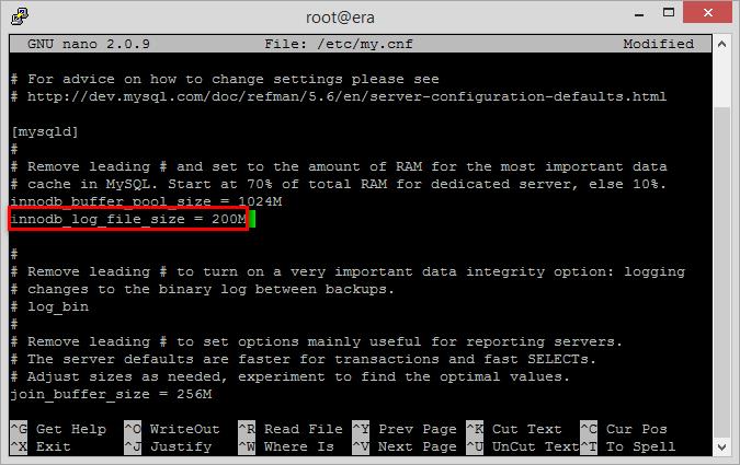 Úprava konfiguračního souboru my.cnf