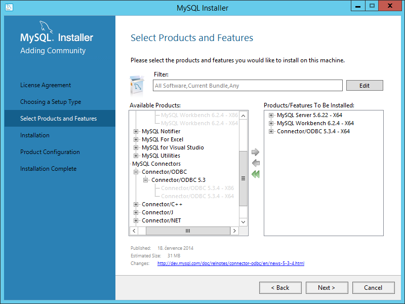 Instalace MySQL