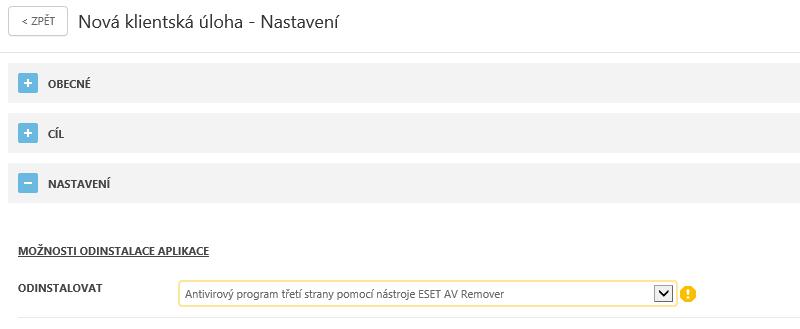 Odinstalace aplikace prostřednictvím nástroje ESET AV Remover