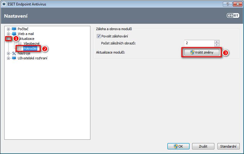 Nastavení aktualizací aplikace ESET
