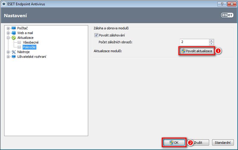 Povolení aktualizací virové databáze ESET