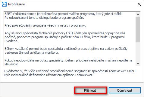 Spuštění aplikace ESET Vzdálená pomoc