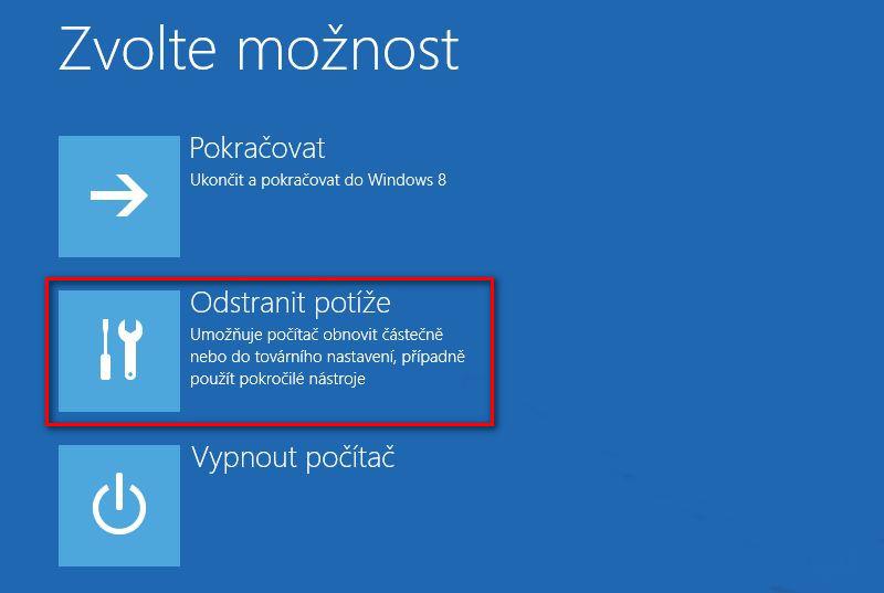 Servisní menu Windows 8