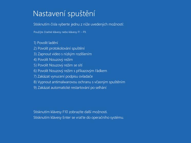 Výběr režimu spuštění Windows 10