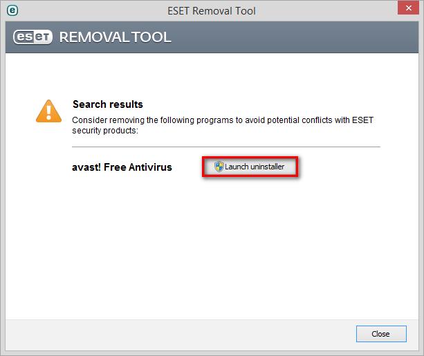 Odinstalace bezpečnostních řešení pomocí ESET Removal Tool