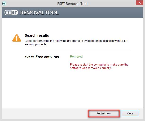 Restartování počítače pomocí ESET Removal Tool