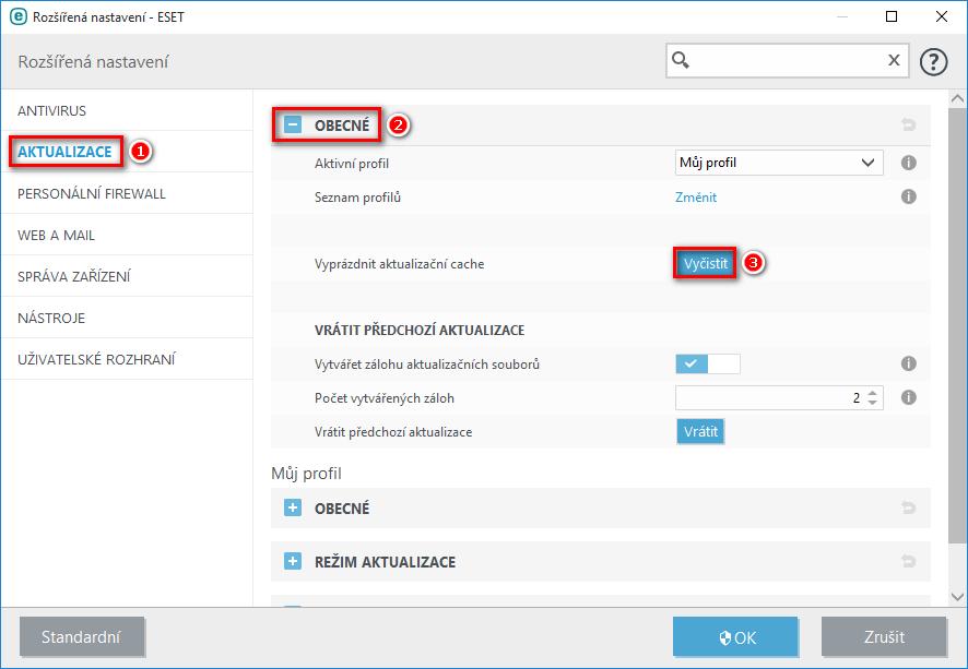 Jak vymazat cache aktualizací produktu ESET