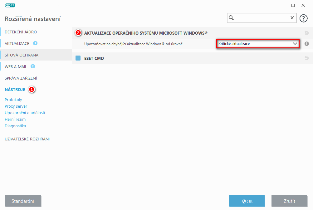 Nastavení hlášení dostupnosti aktualizací operačního systému Windows