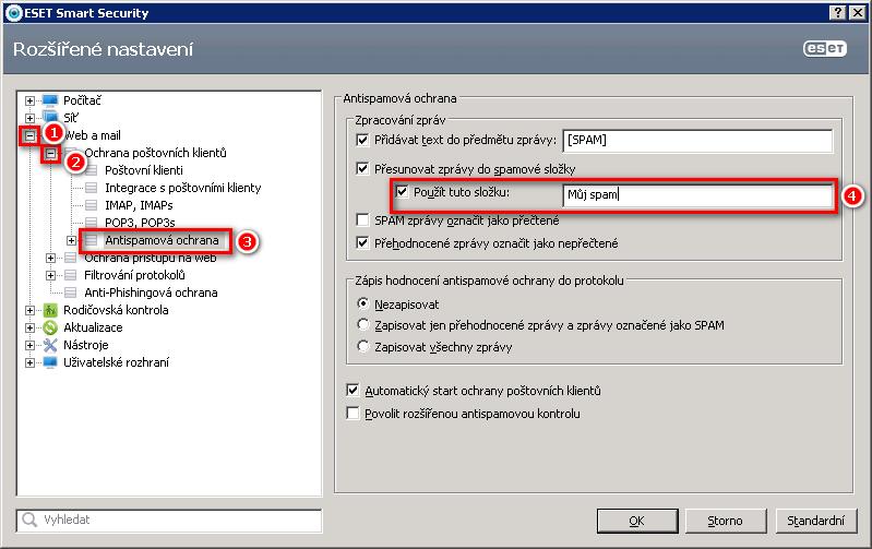 Vytvoření vlastní spam složky v ESET Smart Security