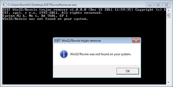 Spusštění nástroje ESETRovnixRemover tool