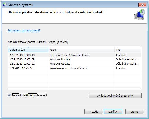 Obnovení systému Windows