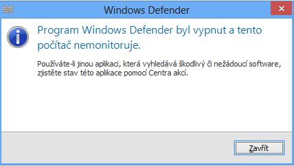 Vypnutý Windows Defender