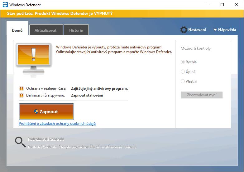 Windows Defender je vypnutý