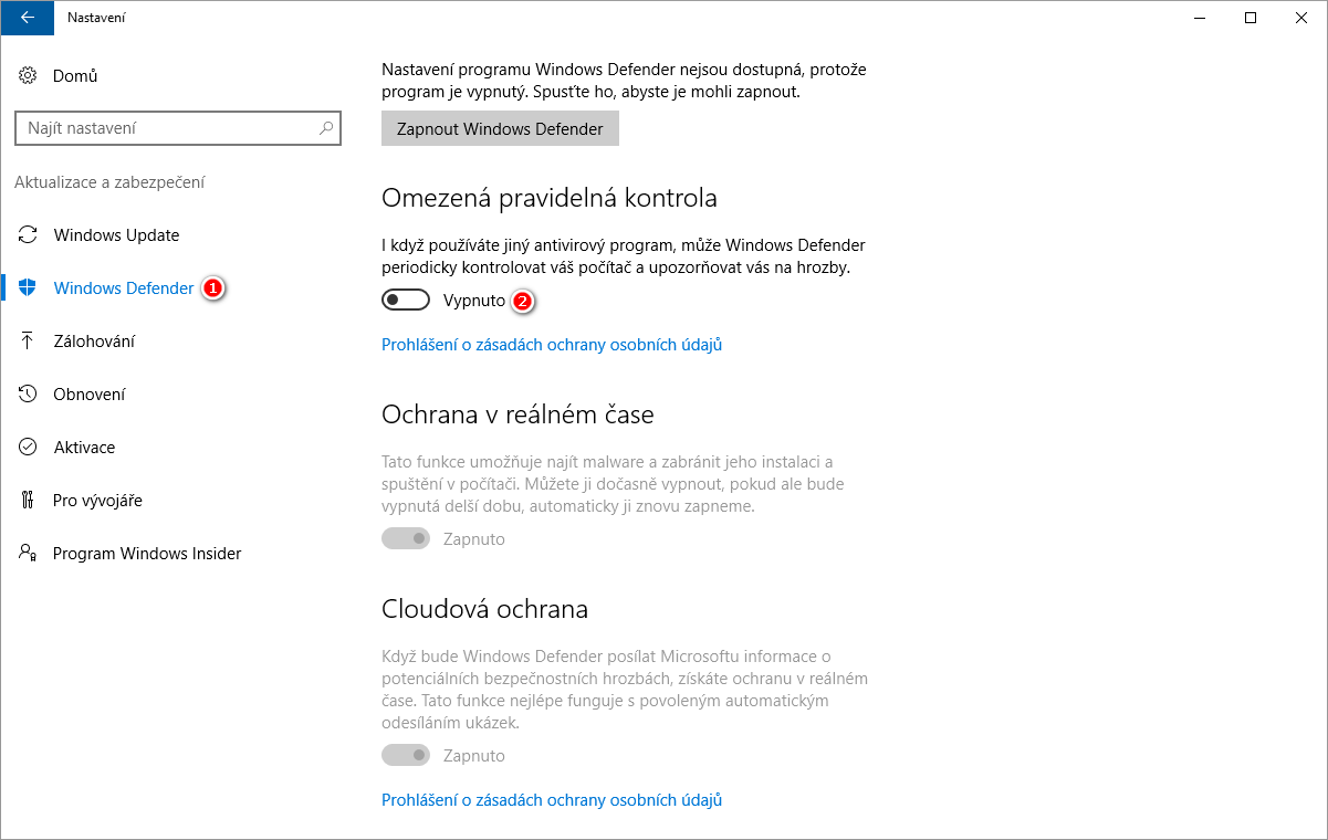 Jak vypnout Windows Defender ve Windows 10