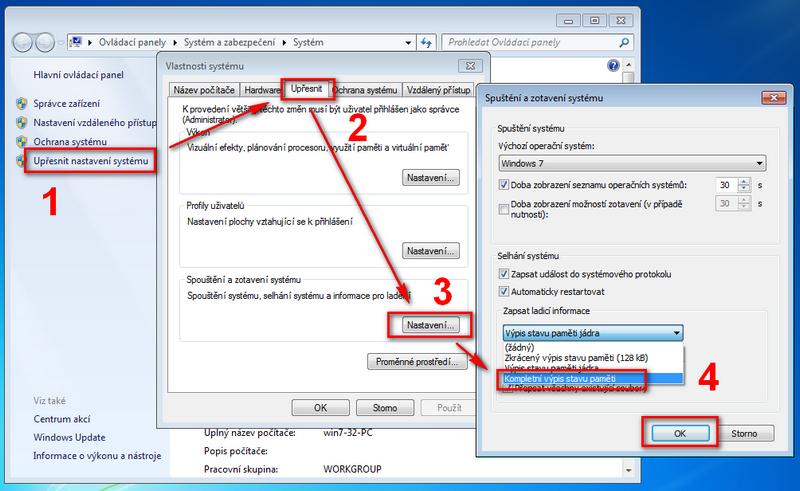 Nastavení úplného výpisu paměti ve Windows