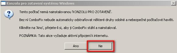 Spuštění aplikace ComboFix, možnost konzole pro zotavení