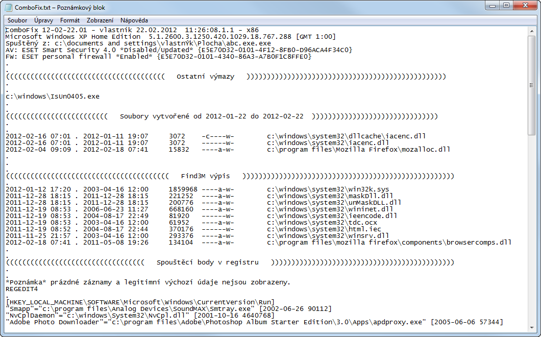 Protokol aplikace ComboFix