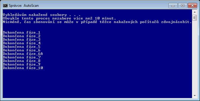Průběh skenování aplikace ComboFix