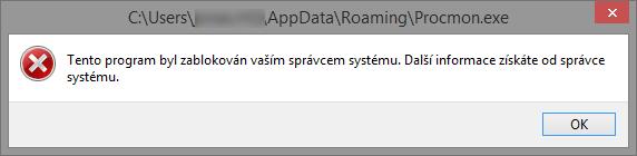 Chyba při spuštění blokované aplikace