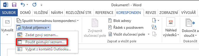 Načtení CSV souboru v Microsoft Word