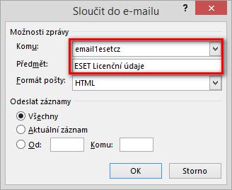 Nastavení odeslání CSV souboru e-mailem