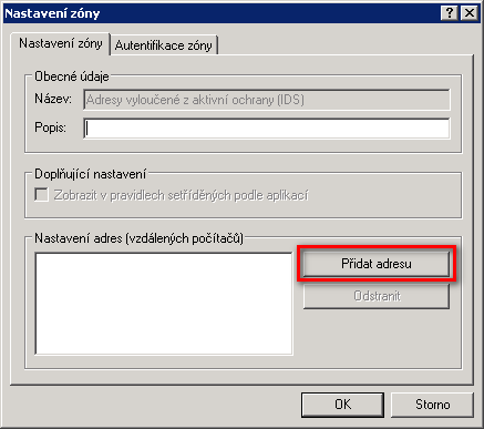 Přidání adresy do nastavení zón personálního firewallu v produktu ESET