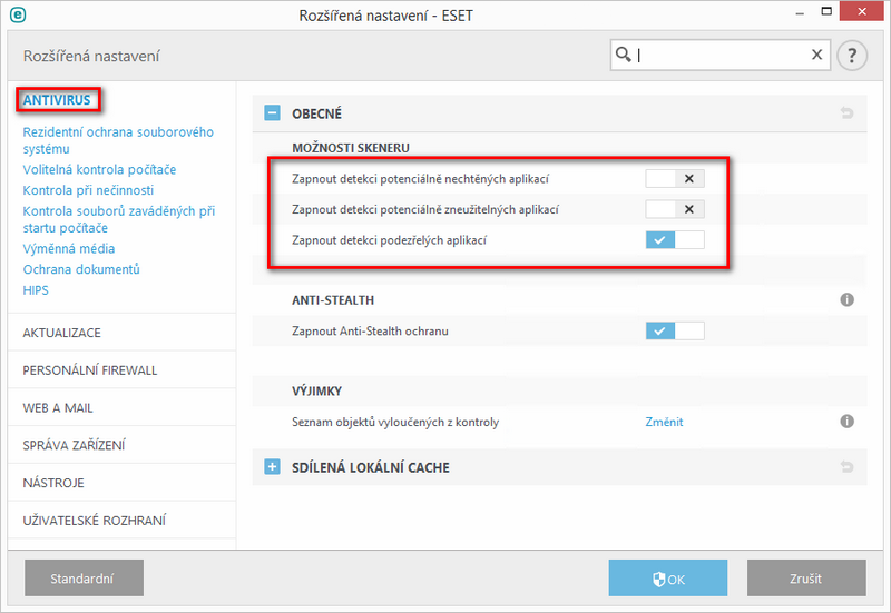 Rozšířené nastavení ESET Endpoint Security