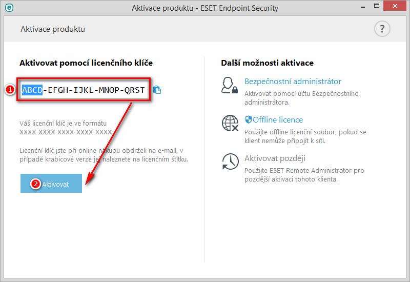 Aktivace ESET Endpoint Security 6 pomocí licenčního klíče