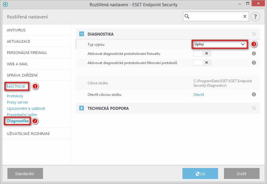 Nastavení diagnostického výpisu paměti aplikace ESET