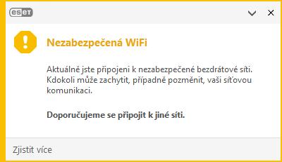 ESET Endpoint Security: upozornění na připojení k nezabezpečené Wi-Fi