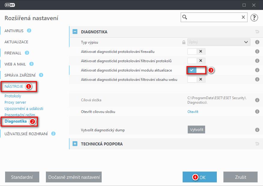 Aktivace diagnostického protokolování modulu aktualizace