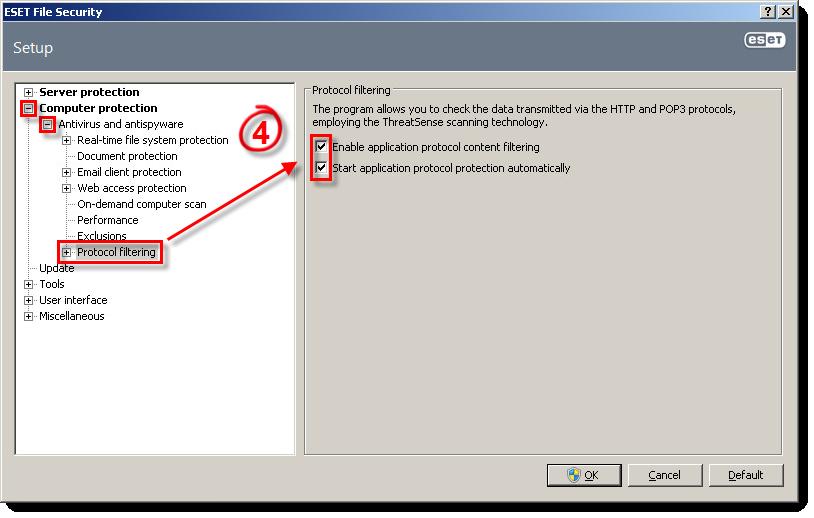 Zapnutí filtrování protokolů v ESET File Security