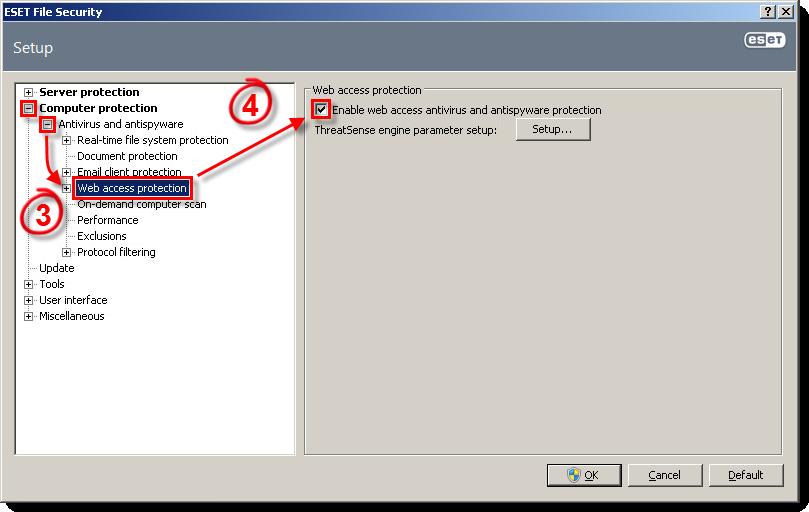 Zapnutí ochrany přístup na web v ESET File Security