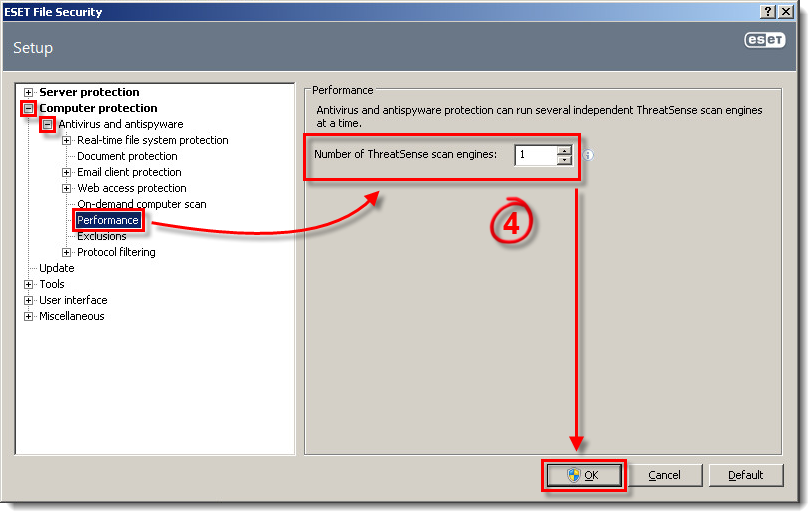 Počet skenovacích jader v ESET File Security