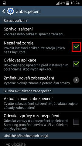 Povolení instalace aplikací z neznámých zdrojů