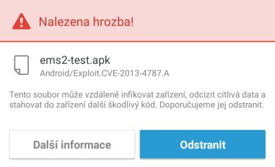 Byla detekována hrozba na OS Android