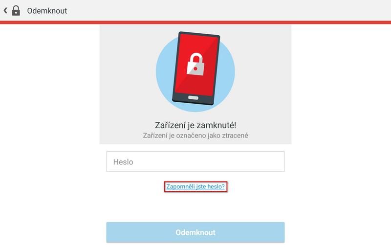 Alternativní možnost resetu hesla v ESET Mobile Security
