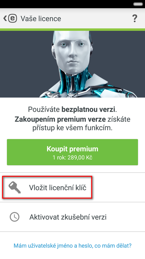 Aktivace ESET Mobile Security