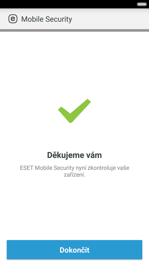 Úspěšná aktivace produktu ESET Mobile Security