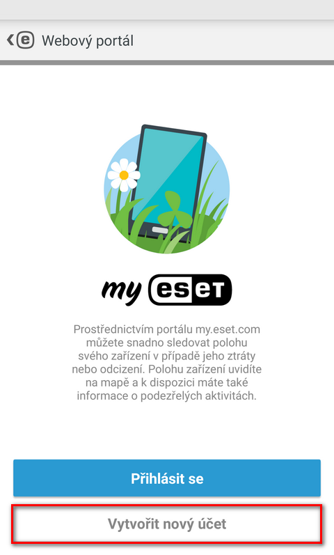 ESET Mobile Security: aktivace technologie Anti-Theft