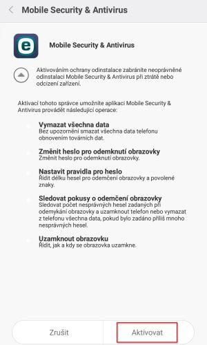 ESET Mobile Security: přidělení oprávnění Správce zařízení