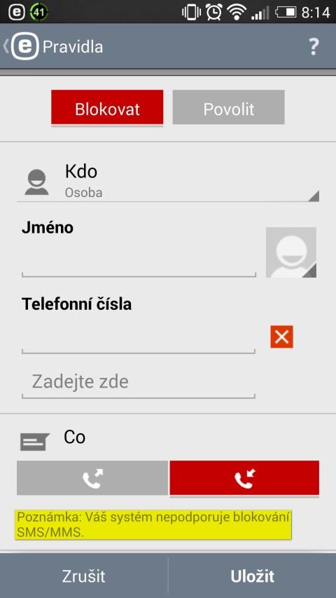 ESET Mobile Security – filtrování SMS