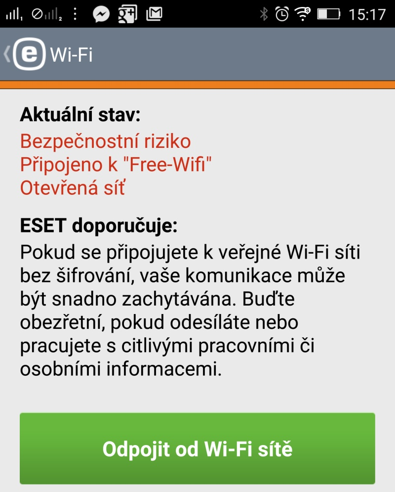 ESET Mobile Security detekoval přístup k nezabezpečené Wi-Fi