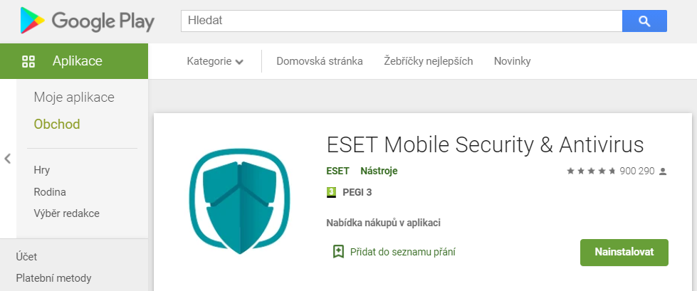 Instalace ESET Mobile Security z Google Play